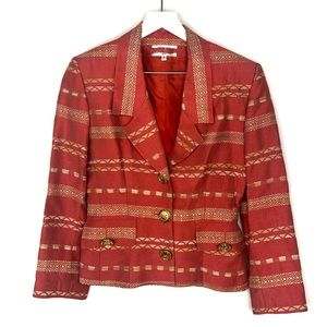 Vintage Woven Pattern Notch Lapel Blazer